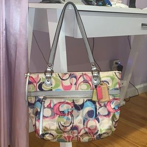 Coach Poppy IKAT Signature Tote Bag